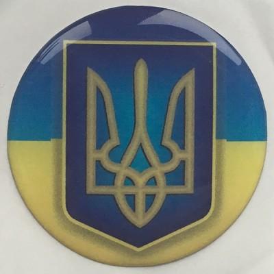 Наклейка силиконовая Флаг Украины с гербом (круглая)