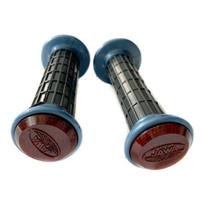 Ручки руля с катафотом (красный с синим ободом)